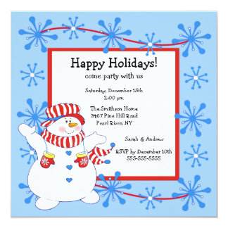Snowman Happy Holiday Christmas Party Invitation
