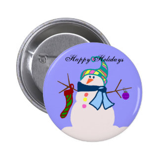 Snowman, Happy Holidays button