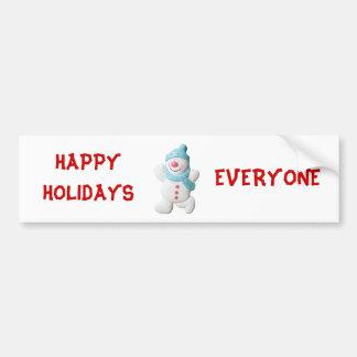 Snowman happy holidays cute custom christmas car bumper sticker