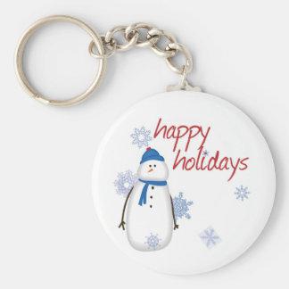 Snowman Happy Holidays Keychain