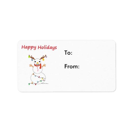 Snowman Happy Holidays Label