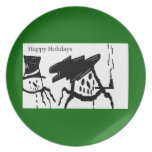 SNOWMAN HAPPY HOLIDAYS Plate