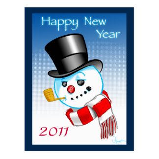 Snowman Happy New Year 2011 Card