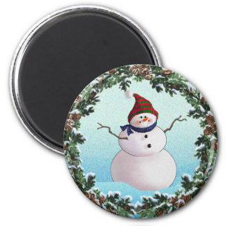 SNOWMAN & HATS by SHARON SHARPE 2 Inch Round Magnet