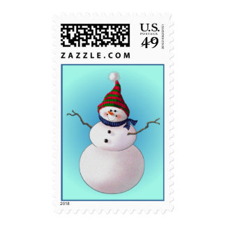 SNOWMAN & HATS by SHARON SHARPE Postage Stamps