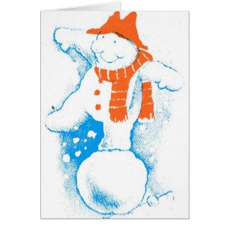 Snowman having a ball: card