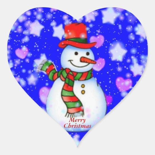 Snowman Heart Sticker