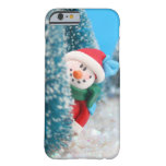Snowman hiding or peeking from behind a tree barely there iPhone 6 case
