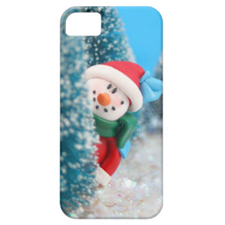 Snowman hiding or peeking from behind a tree iPhone SE/5/5s case