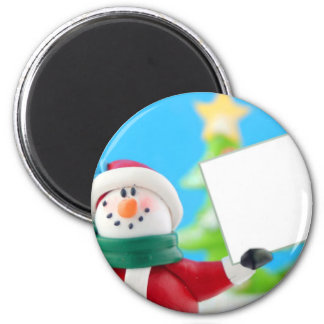 Snowman holding a blank sign magnet