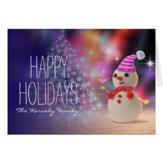 Snowman Holding Glass Card