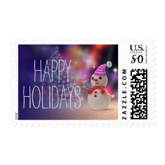 Snowman Holding Glass Postage