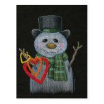 Snowman Holding Hearts Postcard