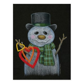 Snowman Holding Hearts Postcard