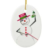 Snowman Holding Mistletoe Ceramic Ornament