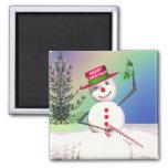 Snowman Holding Mistletoe Fridge Magnets