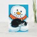 Snowman Holding Sleeping Tuxedo Cat Painting Holiday Card