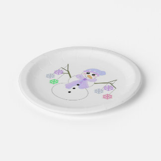 Snowman holding Snowflakes Paper Plate