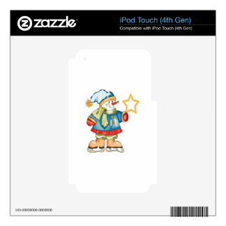 SNOWMAN HOLDING STAR iPod TOUCH 4G DECAL