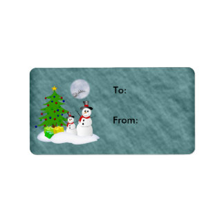 Snowman Holiday Gift Label