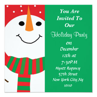 Snowman Holiday Invitation For Many Occasions!