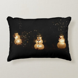 Snowman Holiday Light Display Accent Pillow