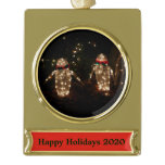 Snowman Holiday Light Display Gold Plated Banner Ornament