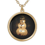 Snowman Holiday Light Display Gold Plated Necklace