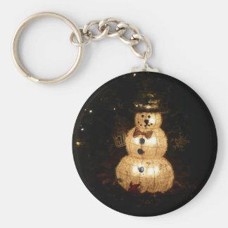 Snowman Holiday Light Display Keychain