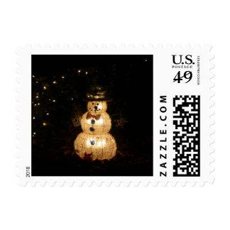 Snowman Holiday Light Display Postage