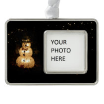 Snowman Holiday Light Display Silver Plated Framed Ornament