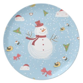 Snowman Holiday Party Plate