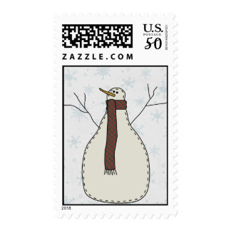 Snowman Holiday Scene Character Postage