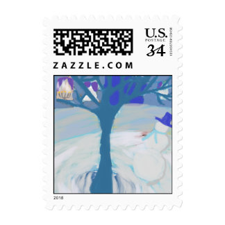 snowman holiday stamp
