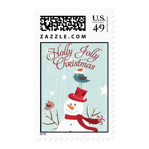 Snowman holly Jolly  Christmas Postage Stamps