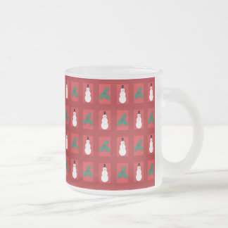 Snowman Holly - Red Frosted Glass Coffee Mug