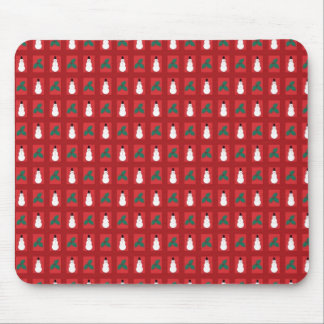 Snowman Holly - Red Mouse Pad