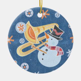 Snowman Horn Making Xmas Holiday Music Ceramic Ornament