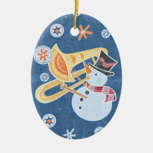 Snowman Horn Making Xmas Holiday Music Double-Sided Oval Ceramic Christmas Ornament