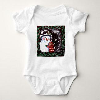 Snowman Hug Winter Folk art T-shirt