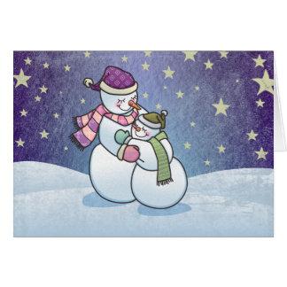 Snowman Hugs Holiday Greeting Card