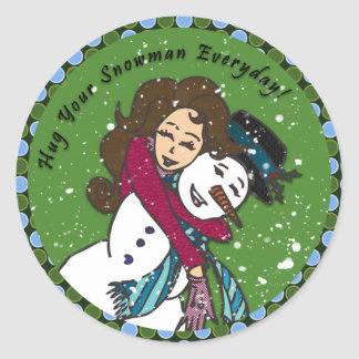 Snowman Hugs Sticker