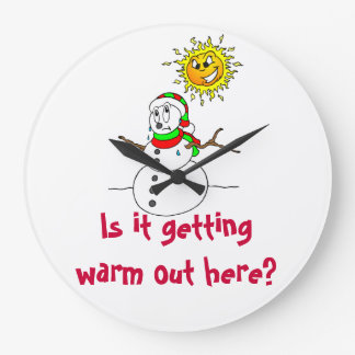 Snowman Humor Is It Getting Warm Out Here Large Clock