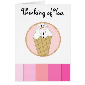 Snowman Ice Cream Cone Greeting Card