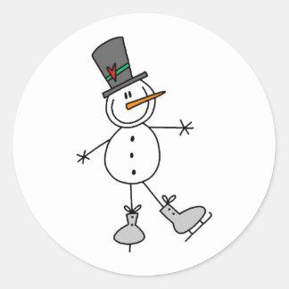 Snowman Ice Skating Classic Round Sticker