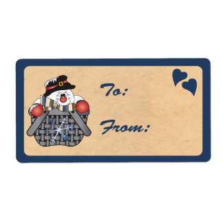 Snowman in a Basket Gift Tag Shipping Label