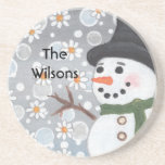 Snowman in a Daisy Snowstorm Coaster
