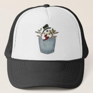 Snowman in a pocket trucker hat