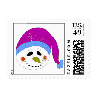 Snowman in a Purple Hat Postage Stamp