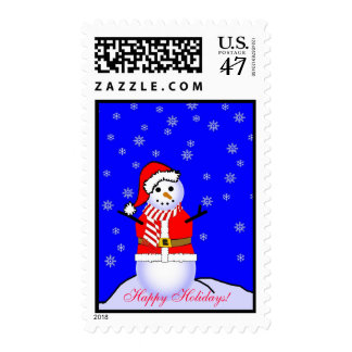 Snowman in a Santa Suit and Candy Striped Scarf Postage